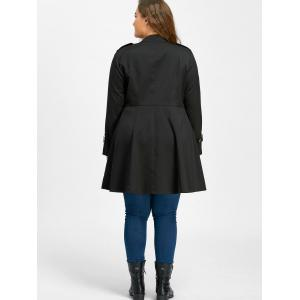 Plus Size Double Breasted Epaulet Flare Coat - BLACK 4XL