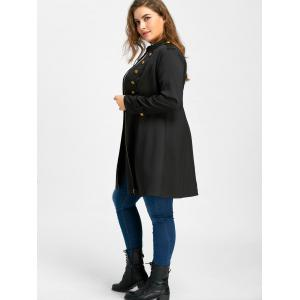 Plus Size Double Breasted Epaulet Flare Coat -