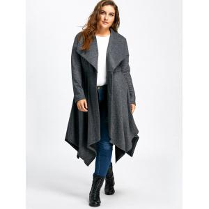 Long Handkerchief Plus Size Wool Coat - GRAY 5XL