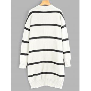 Striped Drop Shoulder Cardigan with Pockets -