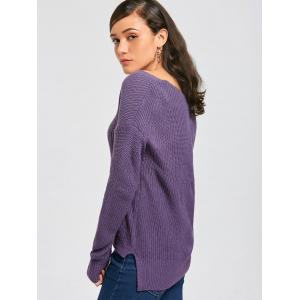 Deep V Neck Ribbed Sweater - PURPLE ONE SIZE