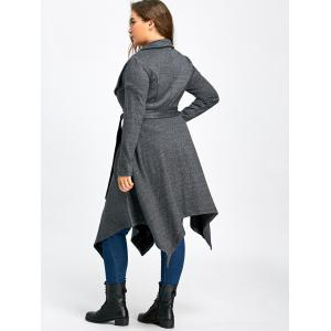 Long Handkerchief Plus Size Wool Coat - GRAY 3XL