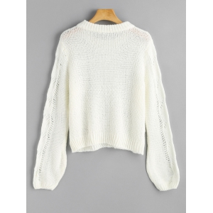 Cut Out Lantern Sleeve Pullover Sweater -