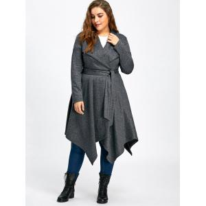Long Handkerchief Plus Size Wool Coat -