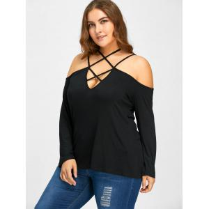 Plus Size Lattice Neck Cold Shoulder T-shirt -