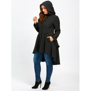 Lace Up High Low Plus Size Hooded Coat -