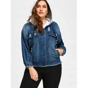 Button Up Plus Size Frayed Hem Hooded Denim Jacket -