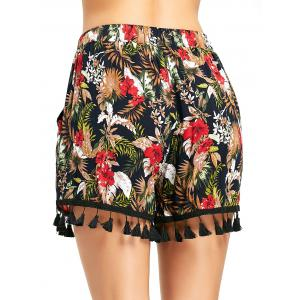 Tropical Floral Beach Shorts with Tassel -