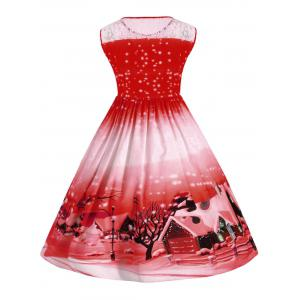 Christmas Plus Size Lace Insert  Snow Vintage Ball Dress -