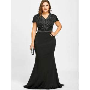 Rhinestone Maxi Plus Size Formal Dress -