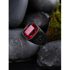 Vintage Alloy Faux Ruby Geometric Finger Ring -