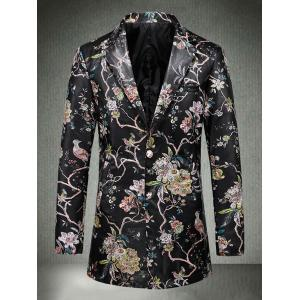 Single Breasted Floral Faux Leather Blazer -