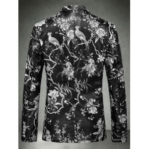 Floral Print One Button Faux Leather Blazer -