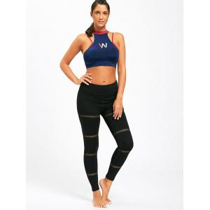 Openwork  Midi Waist Yoga Mesh Panel Leggings -