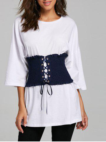 Hot Drop Shoulder Tunic T-shirt with Corset Belt - M WHITE Mobile