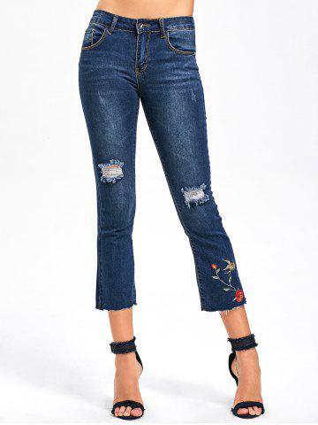 Latest Ripped Embroidery Capri Jeans - M BLUE Mobile