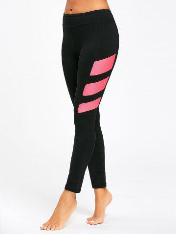 Online Contrast Stretch High Waist Fitness Leggings - S BLACK Mobile