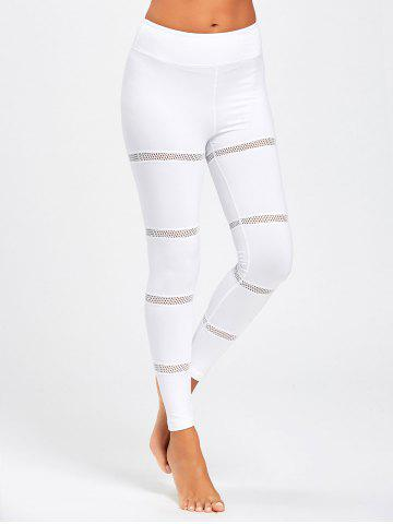 Online Openwork  Midi Waist Yoga Mesh Panel Leggings WHITE S