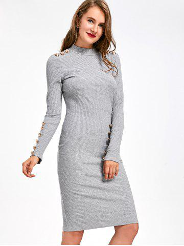 Long Sleeve Ribbed Button Embellished Bodycon Dress