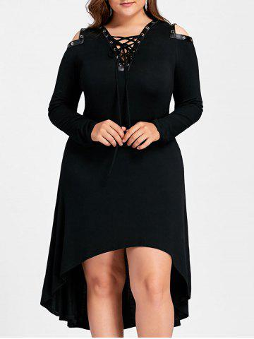 Trendy High Low Cold Shoulder Plus Size Midi Dress