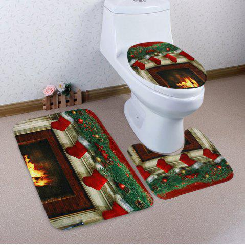 Cheap 3Pcs Christmas Fireplace Socks Bath Toilet Mats Set