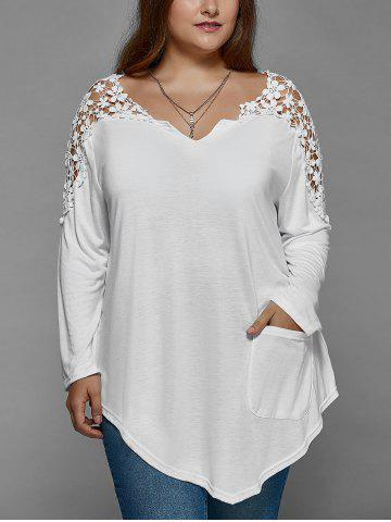 Discount Plus Size Lace Insert Long Sleeve Tunic T-Shirt - 3XL WHITE Mobile