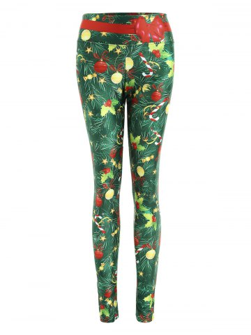 Outfits Christmas Tree Print Wide Waistband Fitted Leggings - M GREEN Mobile