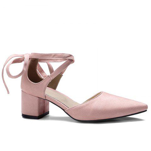Outfits Ankle Strap Two Pieces Pointed Toe Pumps - 39 PINK Mobile