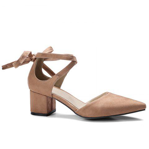 Shop Ankle Strap Two Pieces Pointed Toe Pumps BROWN 37