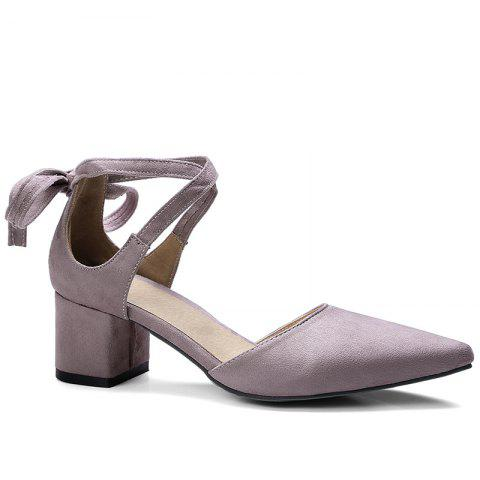Best Ankle Strap Two Pieces Pointed Toe Pumps - 41 LIGHT PURPLE Mobile