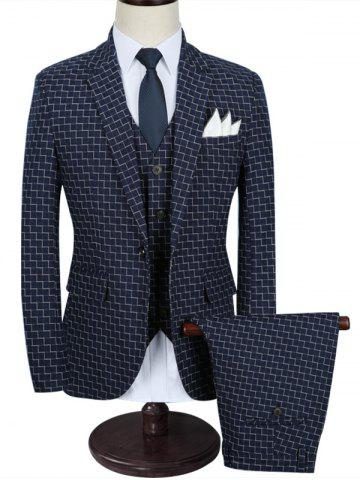 Shops Zigzag Pattern Slim-fit Three Piece Business Suit - 2XL BLUE Mobile