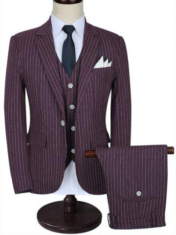 Chic Lapel Pinstripe Three-piece Business Suit - 2XL WINE RED Mobile