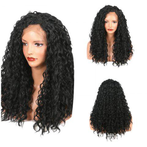 Best Long Free Part Fluffy Loose Curly Lace Front Synthetic Wig BLACK