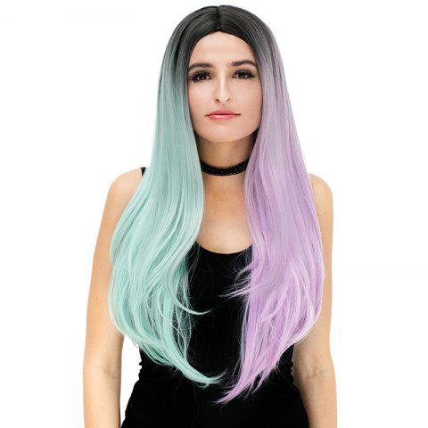 Outfit Long Middle Part Ombre Color Block Straight Synthetic Party Wig COLORFUL