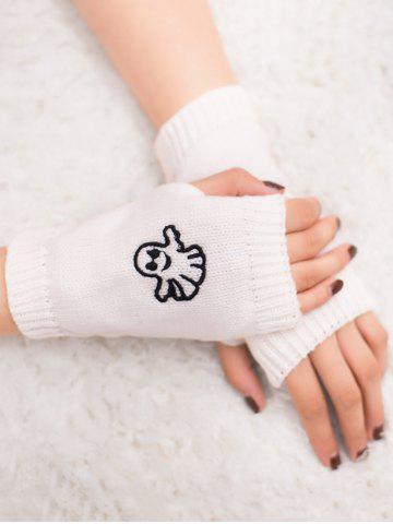 Latest Halloween Ghost Embroidery Exposed Finger Knitting Gloves