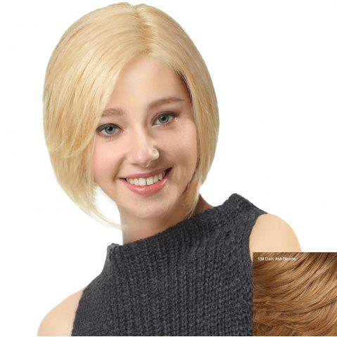 Fancy Side Parting Short Straight Bob Human Hair Lace Front Wig DARK ASH BLONDE