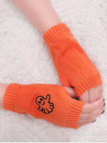 Outfits Halloween Ghost Embroidery Exposed Finger Knitting Gloves - ORANGE YELLOW  Mobile
