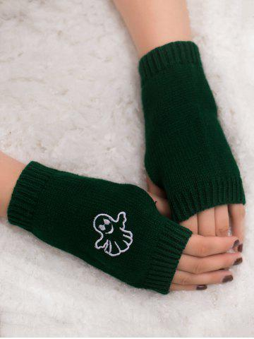 Fashion Halloween Ghost Embroidery Exposed Finger Knitting Gloves BLACKISH GREEN
