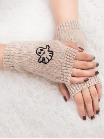 Outfit Halloween Ghost Embroidery Exposed Finger Knitting Gloves