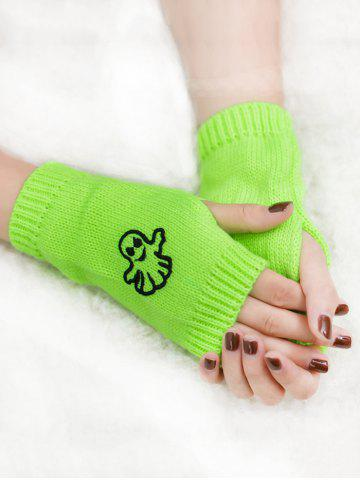 Fashion Halloween Ghost Embroidery Exposed Finger Knitting Gloves - FLUORESCENT YELLOW  Mobile
