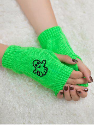 Sale Halloween Ghost Embroidery Exposed Finger Knitting Gloves