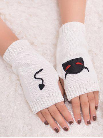 Buy Halloween Devil Embroidery Exposed Finger Knitted Gloves