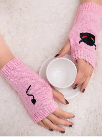 Discount Halloween Devil Embroidery Exposed Finger Knitted Gloves - PINK  Mobile