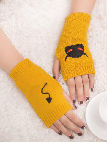 Unique Halloween Devil Embroidery Exposed Finger Knitted Gloves