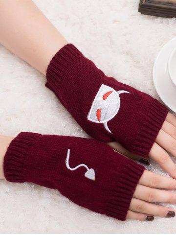 Best Halloween Devil Embroidery Exposed Finger Knitted Gloves