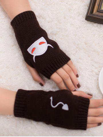Unique Halloween Devil Embroidery Exposed Finger Knitted Gloves COFFEE