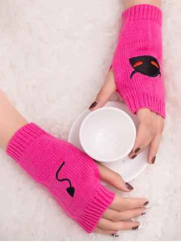 Outfit Halloween Devil Embroidery Exposed Finger Knitted Gloves