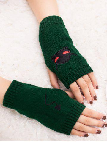 New Halloween Devil Embroidery Exposed Finger Knitted Gloves - BLACKISH GREEN  Mobile