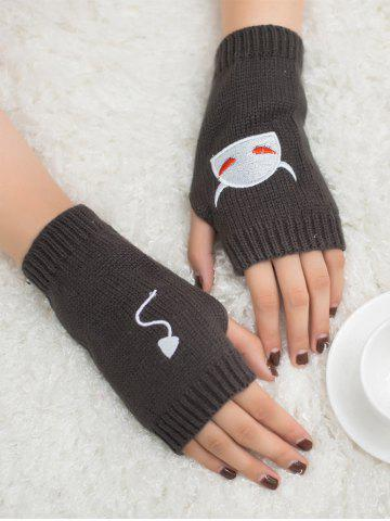 Buy Halloween Devil Embroidery Exposed Finger Knitted Gloves DEEP GRAY