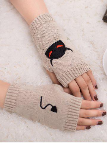 Shops Halloween Devil Embroidery Exposed Finger Knitted Gloves BEIGE